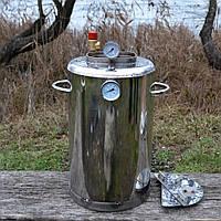Автоклав для домашнего консервирования ЛЮКС - 24 из нержавеющей стали с биметаллическим термометром