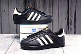 Кроссовки женские 17822, Adidas Superstar, черные, [ 36 38 39 41 ] р. 36-23,0см., фото 2