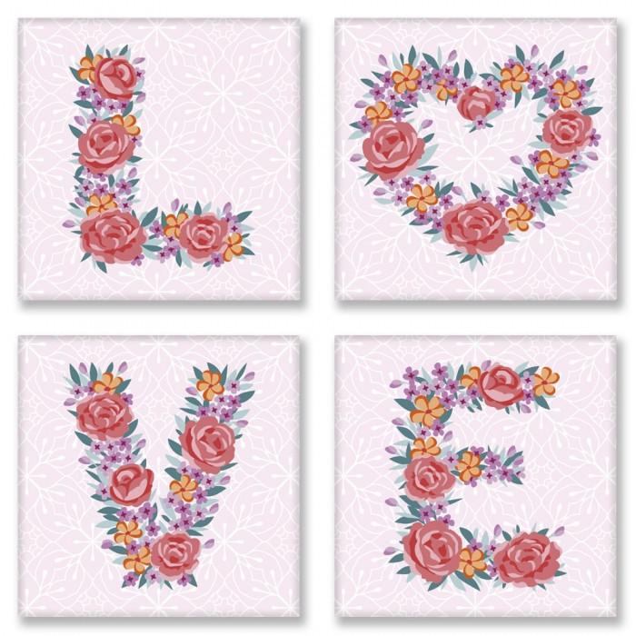 Набор для росписи по номерам. LOVE flowers 18*18 см*4 шт. CH125