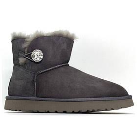 Женские зимние UGG Classic II Mini Gray Suede, серые замшевые угги классик 2 мини женские ботинки уги зимние