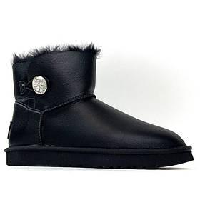 Женские зимние Ugg Mini Bailey Button Black, черные кожаные угги мини бейли батон женские ботинки уги зимние
