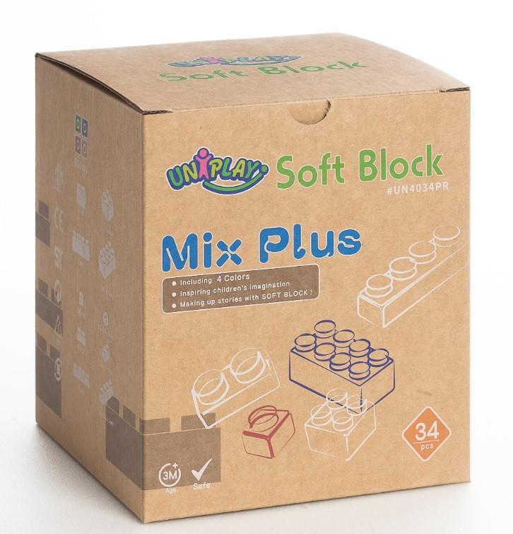 Конструктор из мягких крупных блоков для малышей развивающий Soft Building Blocks - New Mix 34 детали