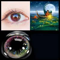Цветные контактные линзы Голубой+Розовый Honey girl