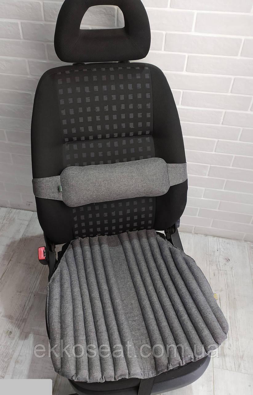 Ортопедичні подушки, накидки на авто крісло EKKOSEAT з поперековим упором спини. Чорні. Універсальні.