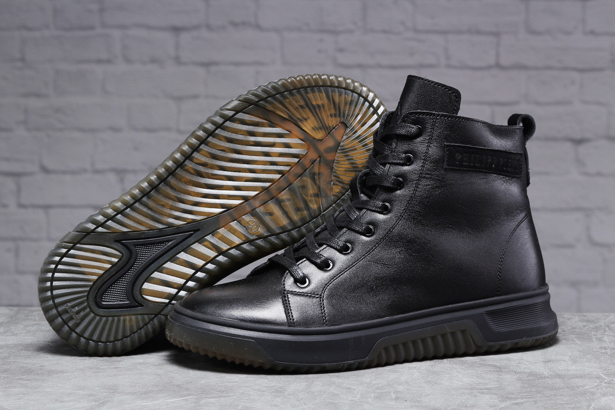 Зимові чоловічі черевики 31511, Philipp Plein (хутро), чорні, [ ] р. 40-26,5 див.
