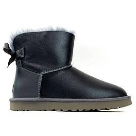 Женские зимние UGG Bailey Bow Mini Gray Leather, серые кожаные угги бейли боу мини женские ботинки уги зимние