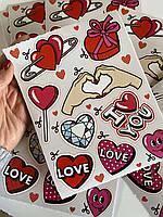 Наклейки на ноутбук I Love you, сердце, любовь, сердечки, подарок на 8 марта, любимой, жене