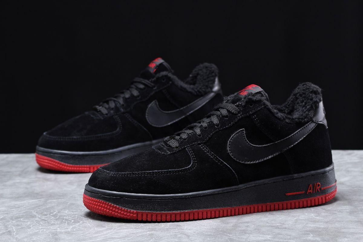 Зимние мужские кроссовки 31734, Nike Air AF1 (мех), черные [ нет в наличии ] р.(43-27,6см)