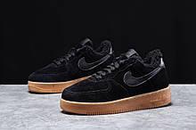 Зимние женские кроссовки 31741, Nike Air AF1 (мех), черные [ 38,5 ] р.(36-23,0см)