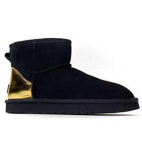 Женские зимние UGG Classic II Mini Black Suede, черные замшевые угги классик 2 мини женские ботинки уги зимние