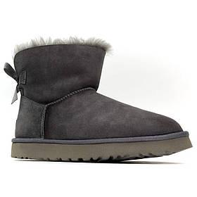 Женские зимние UGG Bailey Bow Mini Gray, серые замшевые угги бейли боу мини женские ботинки уги зимние