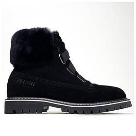 Женские зимние Ugg Boot Fur Black, черные кожаные угги бут женские ботинки уги зимние