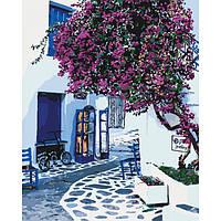 """Яркая картина раскраска по номерам Городской пейзаж """"Солнечная Греция"""" KHO2168, 40х50 см живопись рисование"""