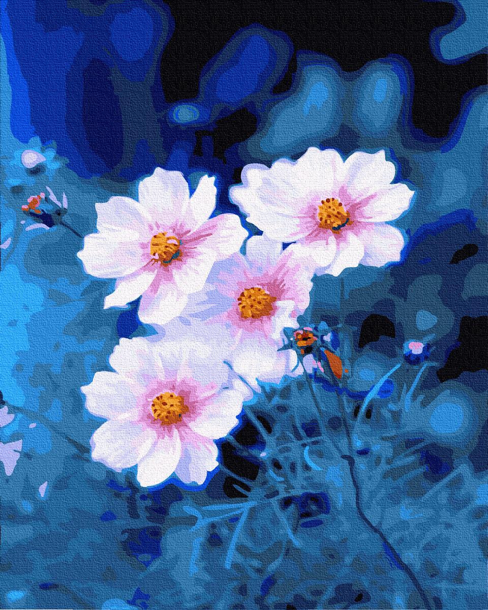 Картина по Номерам Ромашки на синем фоне 40х50см RainbowArt