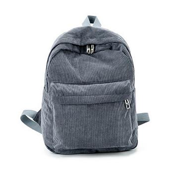 Жіночий сірий вельветовий рюкзак код 3-425