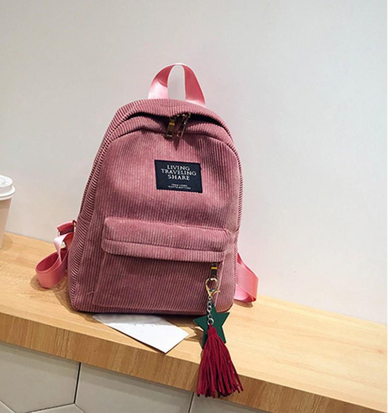 Женский розовый вельветовый рюкзак с брелком код 3-424