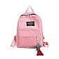 Женский розовый вельветовый рюкзак с брелком код 3-424, фото 2