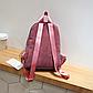 Женский розовый вельветовый рюкзак с брелком код 3-424, фото 5
