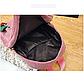 Женский розовый вельветовый рюкзак с брелком код 3-424, фото 6