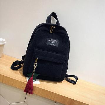 Жіночий чорний вельветовий рюкзак з брелоком код 3-424