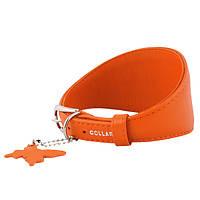 Ошейник для борзых собак WAUDOG GLAMOUR без украшений, ширина 15мм, длина 29-35см оранжевый 34664