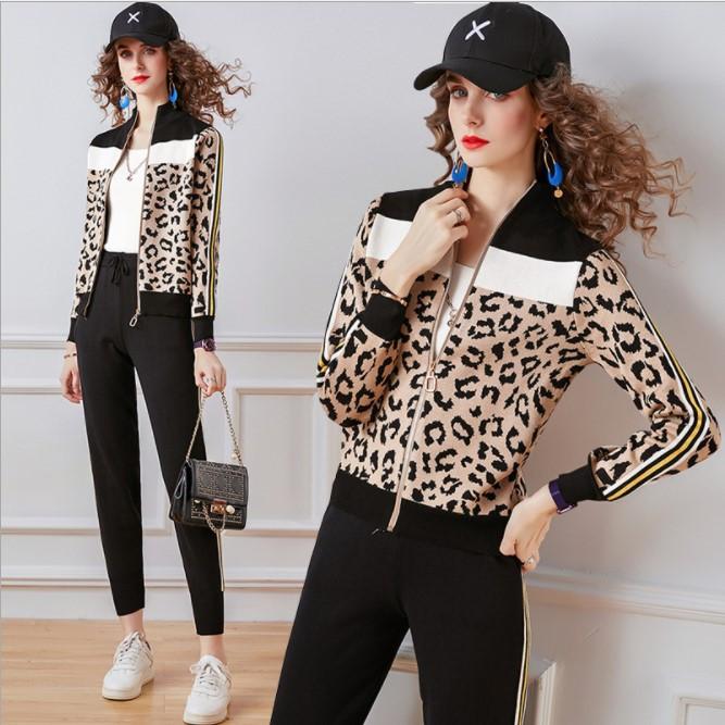 Жіночий прогулянковий в'язаний костюм двійка з леопардовим принтом р-р 42-44