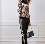 Жіночий прогулянковий в'язаний костюм двійка з леопардовим принтом р-р 42-44, фото 2