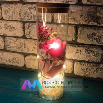 Роза в колбе с LED подсветкой розовая вечная стабилизированная искусственная под колбой подарок девушке жене