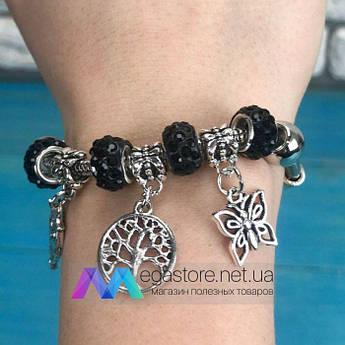 Браслет с подвесками шармами в стиле Pandora пандора женские украшения бусинами бижутерия черный блестящий