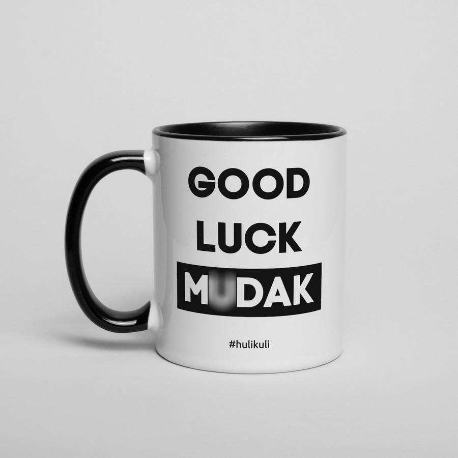 """Чашка с надписью """"Good luck mudak"""", 330 мл подарочная керамическая"""