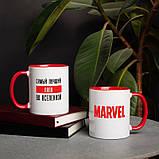 """Чашка с надписью MARVEL """"Лучший во вселенной MARVEL"""" персонализированная, 330 мл подарочная керамическая, фото 4"""