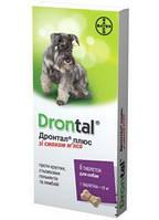 Таблетки от гельминтов для собак Дронтал плюс 6таб (празиквантел, пирантел)
