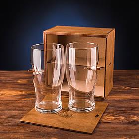 Набор из двух пивных бокалов с настоящей пулей калибра 7.62 | Подарочный набор в деревянной коробке