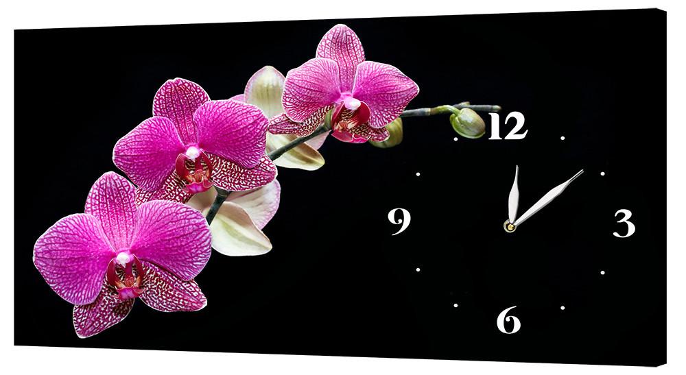 Настенные часы Декор Карпаты 24х44 Орхидеи Черный (24х44-c5)