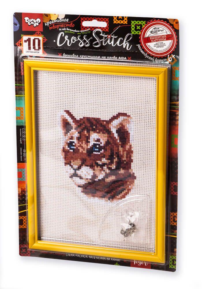 Вишивка хрестиком на канві Cross Stitch Тигр Dankotoys (VKB-01-01)