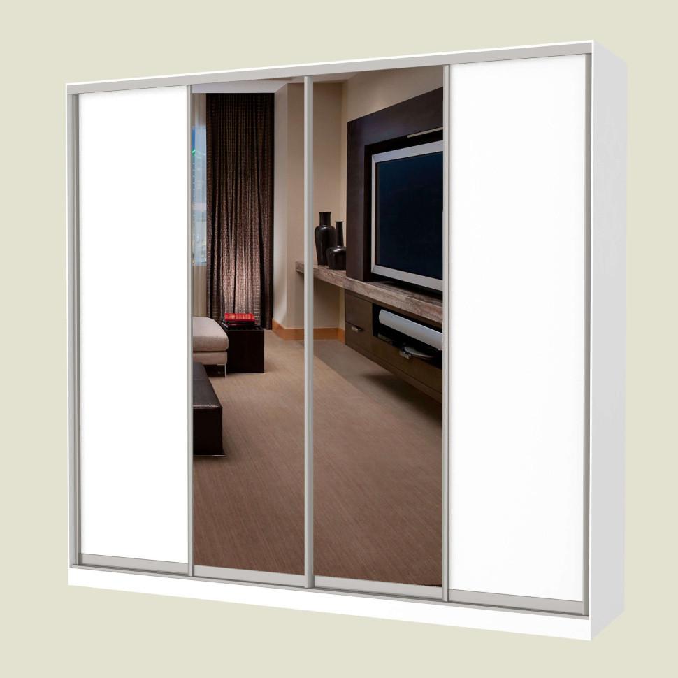 Шкаф-купе MILERI 4-х дверный 250х210х45 (ДСП + Зеркало) Белый (4230051)