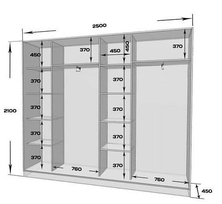 Шкаф-купе MILERI 4-х дверный 250х210х45 (ДСП + Зеркало) Белый (4230051), фото 2
