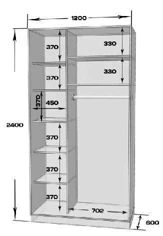 Шафа-купе MILERI 2-х дверний 120х240х60 Дуб сонома (1977963), фото 2