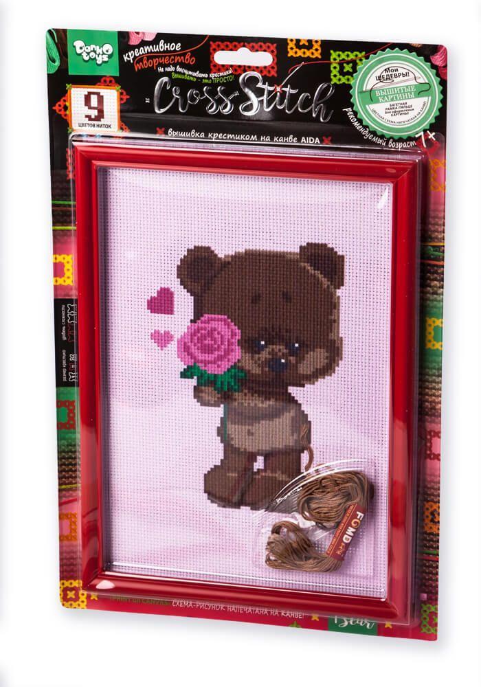 Вышивка крестиком на канве Cross Stitch Мишка с розой Dankotoys (VKB-01-06)
