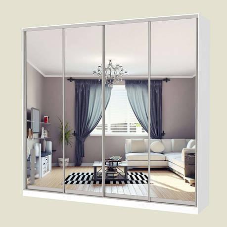 Шкаф-купе MILERI 4-х дверный 250х240х60 (4 зеркала) Белый (4230070), фото 2