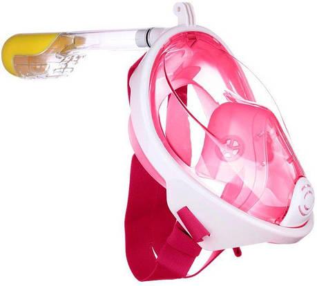 Маска для плавання повна MHZ 5460 рожева, L-XL, фото 2