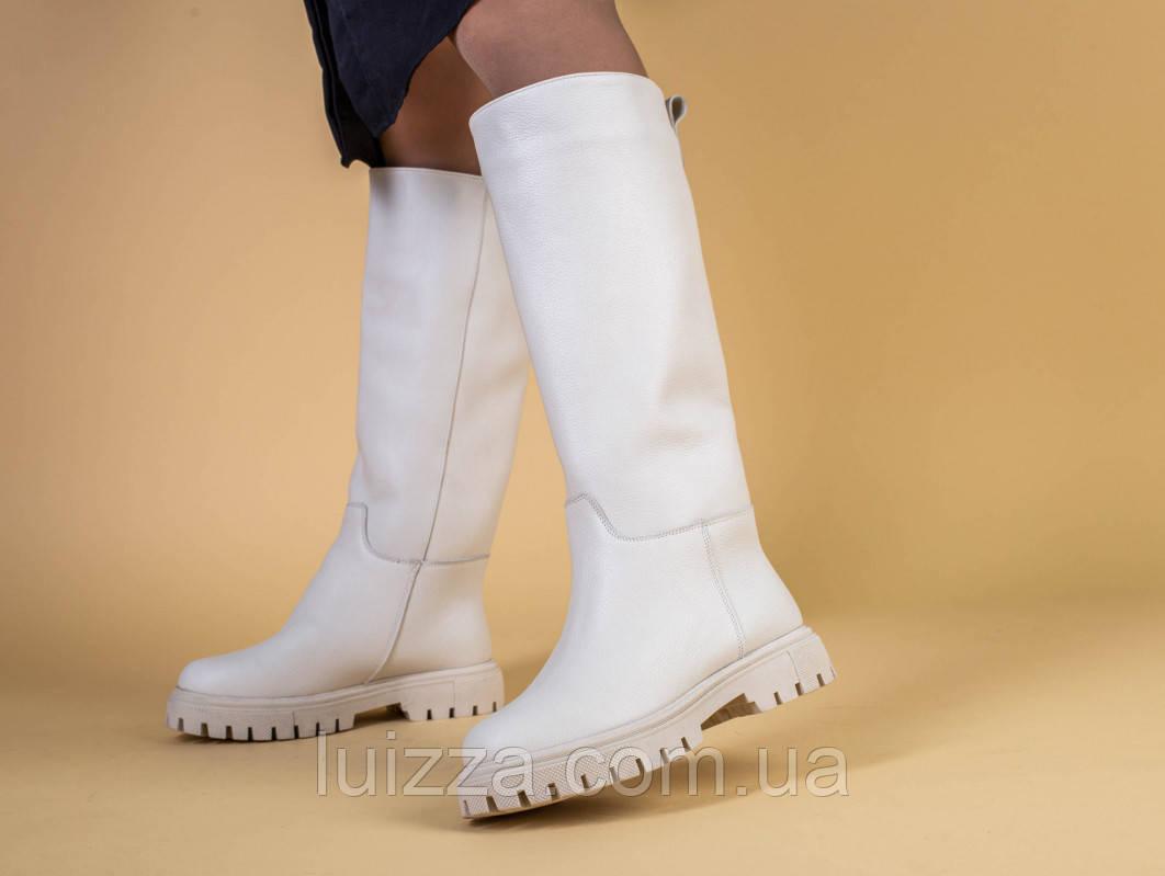 Чоботи-труби жіночі шкіра флотар бежеві туфлі, без блискавки