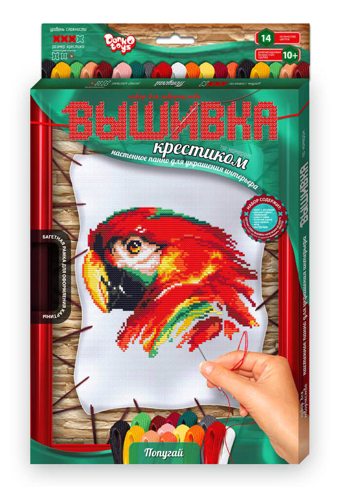 Вишивка хрестиком на розтяжці з рамкою Папуга Dankotoys (VK-02-04)
