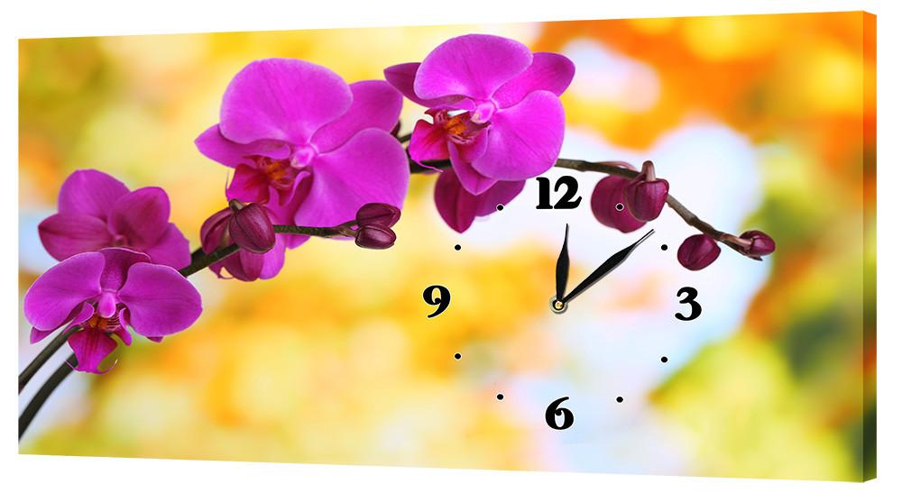 Настенные часы на ткане Декор Карпаты 24х44 Орхидеи (24х44-c32)
