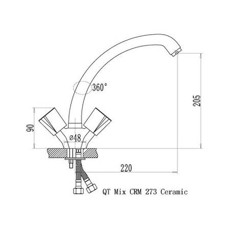Смеситель для кухни Q-tap Mix CRM 273 (QTMIXCRM273), фото 2