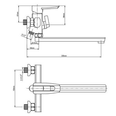 Змішувач для ванни Lidz (CRM)-13 33 005 00, фото 2
