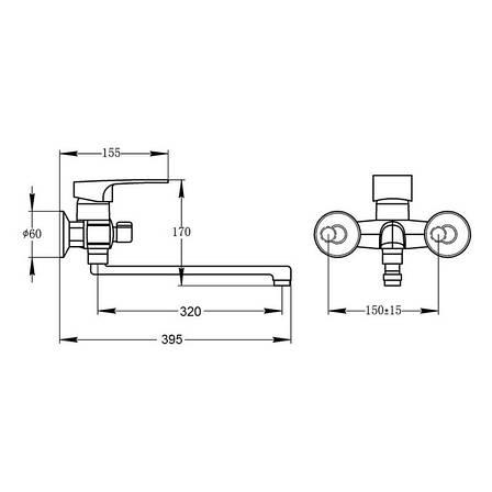 Смеситель для ванны Potato P2230-6 (POTP22306), фото 2