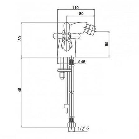 Смеситель для биде Q-tap Dominox CRM 161A (QTDOMCRM161A), фото 2
