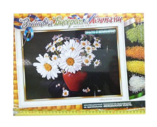 Набор для вышивки бисером и лентами Dankotoys Ромашки (БВ-01Р-01), фото 2