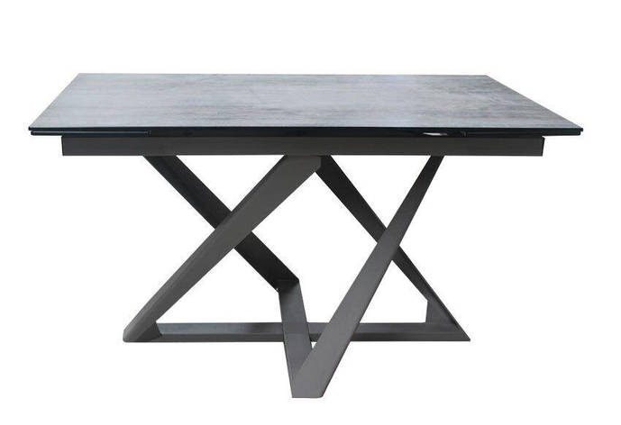 Стол обеденный раскладной стеклянный с керамикой DAOSUN DT 8101 Серый, фото 2